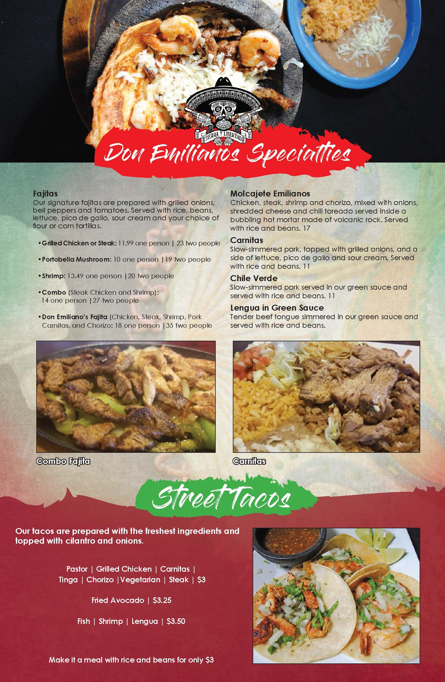 Don Emilianos Mexican Restaurant Menu Don Emilianos Restaurante Mexicano